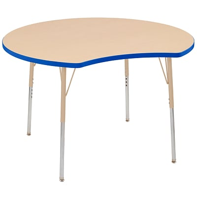 ECR4Kids Thermo-Fused Adjustable Swivel 48 Crescent Laminate Activity Table Maple/Blue/Sand (ELR-14231-MPBLSDTS)