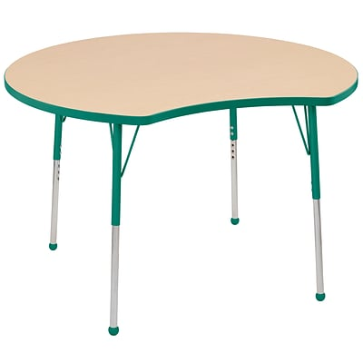 ECR4Kids Thermo-Fused Adjustable Ball 48 Crescent Laminate Activity Table Maple/Green (ELR-14231-MPGNGNSB)