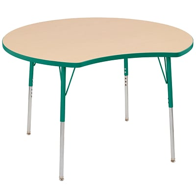 ECR4Kids Thermo-Fused Adjustable Swivel 48 Crescent Laminate Activity Table Maple/Green (ELR-14231-MPGNGNTS)