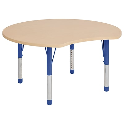 ECR4Kids Thermo-Fused Adjustable 48 Crescent Laminate Activity Table Maple/Maple/Blue (ELR-14231-MPMPBLCH)