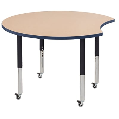 ECR4Kids Thermo-Fused Adjustable Leg 48 Crescent Laminate Activity Table Maple/Navy/Black (ELR-14231-MPNVBKSL)