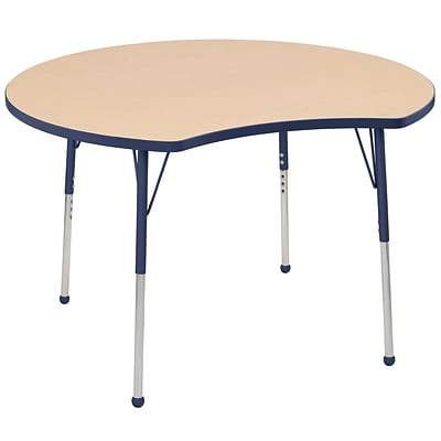 ECR4Kids Thermo-Fused Adjustable Ball 48 Crescent Laminate Activity Table Maple/Navy (ELR-14231-MPNVNVTB)