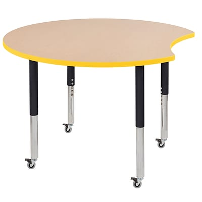 ECR4Kids Thermo-Fused Adjustable Leg 48 Crescent Laminate Activity Table Maple/Yellow/Black (ELR-14231-MPYEBKSL)