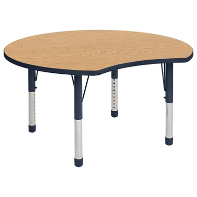 ECR4Kids Thermo-Fused Adjustable 48 Crescent Laminate Activity Table Oak/Navy (ELR-14231-OKNVNVCH)