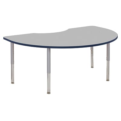 ECR4Kids Thermo-Fused Adjustable Leg 72 x 48 Kidney Laminate Activity Table Grey/Navy/Silver (ELR-14204-GYNVSVSL)