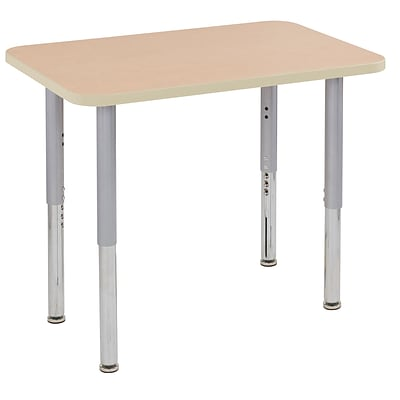 ECR4Kids T-Mold Adjustable Leg 36 x 24 Rectangle Laminate Activity Table Maple/Maple/Silver (ELR-14106-MMSV-SL)