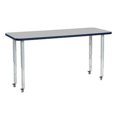 ECR4Kids Thermo-Fused Adjustable Leg 60 x 24 Rectangle Laminate Activity Table Grey/Navy/Silver (ELR-14208-GYNVSVSL)