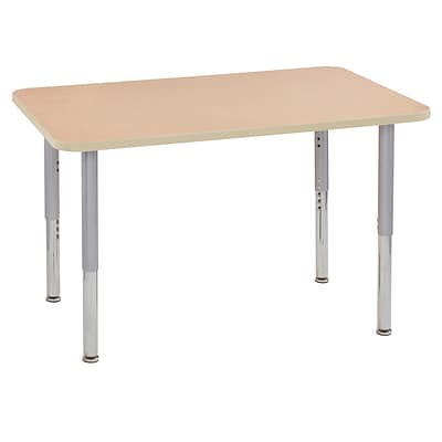 ECR4Kids Thermo-Fused Adjustable Leg 48 x 30 Rectangle Laminate Activity Table Maple/Maple/Silver (ELR-14210-MPMPSVSL)