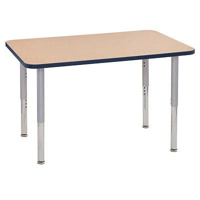 ECR4Kids Thermo-Fused Adjustable Leg 48 x 30 Rectangle Laminate Activity Table Maple/Navy/Silver (ELR-14210-MPNVSVSL)