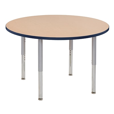 ECR4Kids Thermo-Fused Adjustable Leg 48 Round Laminate Activity Table Maple/Navy/Silver (ELR-14215-MPNVSVSL)