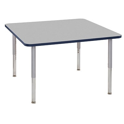 ECR4Kids T-Mold Adjustable Leg 48 Square Laminate Activity Table Grey/Navy/Silver (ELR-14117-GNVSV-SL)