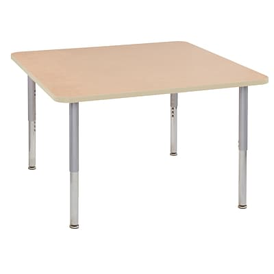 ECR4Kids T-Mold Adjustable Leg 48 Square Laminate Activity Table Maple/Maple/Silver (ELR-14117-MMSV-SL)