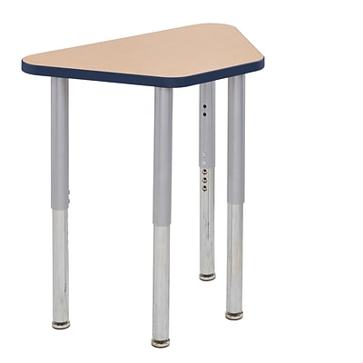 ECR4Kids Thermo-Fused Adjustable Leg 30 x 18 Trapezoid Laminate Activity Table Maple/Navy/Silver (ELR-14218-MPNVSVSL)