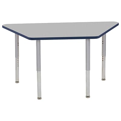 ECR4Kids T-Mold Adjustable Leg 60 x 30 Trapezoid Laminate Activity Table Grey/Navy/Silver (ELR-14119-GNVSV-SL)