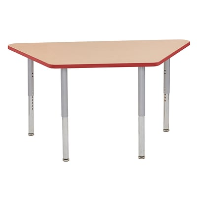 ECR4Kids T-Mold Adjustable Leg 60 x 30 Trapezoid Laminate Activity Table Maple/Red/Silver (ELR-14119-MRDSV-SL)