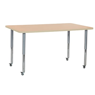 ECR4Kids Thermo-Fused Adjustable Leg 60 x 36 Rectangle Laminate Activity Table Maple/Maple/Silver (ELR-14222-MPMPSVSL)