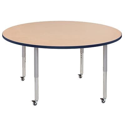 ECR4Kids Thermo-Fused Adjustable Leg 60 Round Laminate Activity Table Maple/Navy/Silver (ELR-14224-MPNVSVSL)