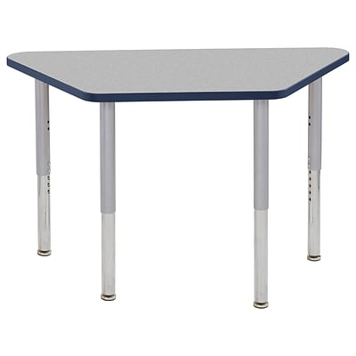 ECR4Kids T-Mold Adjustable Leg 48 x 24 Trapezoid Laminate Activity Table Grey/Navy/Silver (ELR-14126-GNVSV-SL)