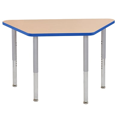 ECR4Kids Thermo-Fused Adjustable Leg 48 x 24 Trapezoid Laminate Activity Table Maple/Blue/Silver (ELR-14226-MPBLSVSL)