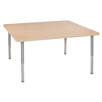 ECR4Kids Thermo-Fused Adjustable Leg 60 Square Laminate Activity Table Maple/Maple/Silver (ELR-14228-MPMPSVSL)