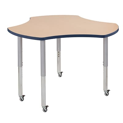 ECR4Kids Thermo-Fused Adjustable Leg 48 Cog Laminate Activity Table Maple/Navy/Silver (ELR-14230-MPNVSVSL)