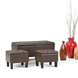 Simpli Home Dover 3 piece Faux Leather Storage Ottoman in Chocolate Brown (AXCOT-238-CBR)