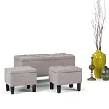 Simpli Home Dover 3 piece Linen Look Storage Ottoman in Cloud Grey (AXCOT-238-CLG)