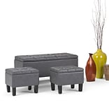 Simpli Home Dover 3 piece Faux Leather Storage Ottoman in Stone Grey (AXCOT-238-G)