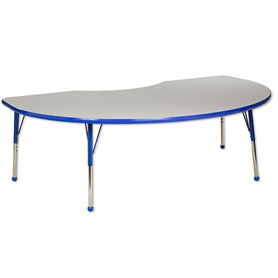ECR4Kids Thermo-Fused Adjustable Ball 72 x 48 Kidney Laminate Activity Table Grey/Blue (ELR-14204-GYBLBLTB)