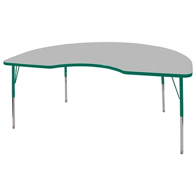 ECR4Kids Thermo-Fused Adjustable Swivel 72 x 48 Kidney Laminate Activity Table Grey/Green (ELR-14204-GYGNGNSS)