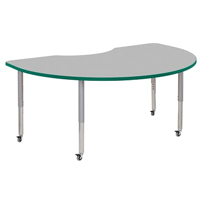 ECR4Kids Thermo-Fused Adjustable Leg 72 x 48 Kidney Laminate Activity Table Grey/Green/Silver (ELR-14204-GYGNSVSL)