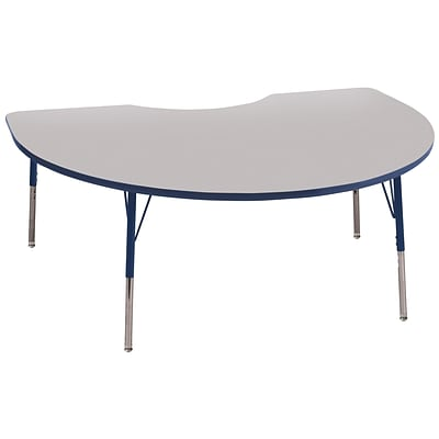 ECR4Kids Thermo-Fused Adjustable Swivel 72 x 48 Kidney Laminate Activity Table Grey/Navy (ELR-14204-GYNVNVSS)