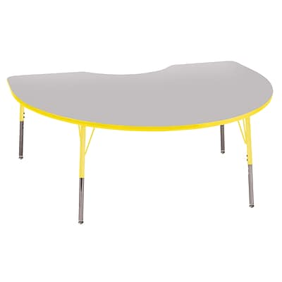 ECR4Kids Thermo-Fused Adjustable Swivel 72 x 48 Kidney Laminate Activity Table Grey/Yellow (ELR-14204-GYYEYETS)