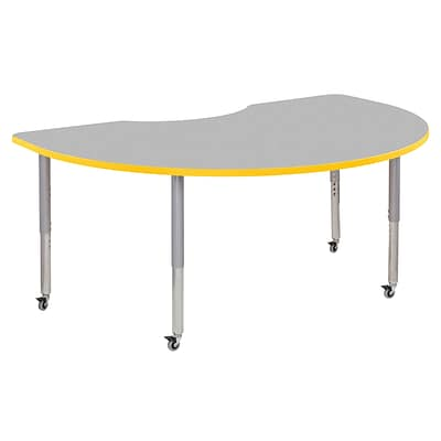 ECR4Kids Thermo-Fused Adjustable Leg 72 x 48 Kidney Laminate Activity Table Grey/Yellow/Silver (ELR-14204-GYYESVSL)