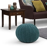 Simpli Home Shelby Hand Knit Round Pouf in Teal (AXCPF-02-TL)
