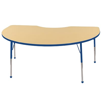 ECR4Kids Thermo-Fused Adjustable Ball 72 x 48 Kidney Laminate Activity Table Maple/Blue (ELR-14204-MPBLBLTB)