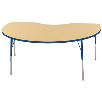 ECR4Kids Thermo-Fused Adjustable Swivel 72 x 48 Kidney Laminate Activity Table Maple/Blue (ELR-14204-MPBLBLTS)