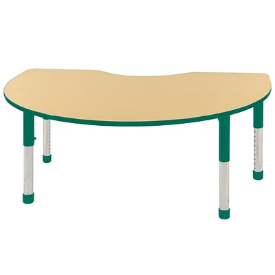 ECR4Kids Thermo-Fused Adjustable 72 x 48 Kidney Laminate Activity Table Maple/Green (ELR-14204-MPGNGNCH)