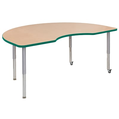 ECR4Kids T-Mold Adjustable Leg 72 x 48 Kidney Laminate Activity Table Maple/Green/Silver (ELR-14104-MGNSV-SL)