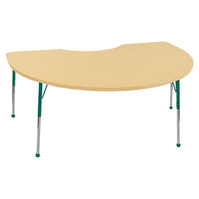 ECR4Kids Thermo-Fused Adjustable Ball 72 x 48 Kidney Laminate Activity Table Maple/Maple/Green (ELR-14204-MPMPGNSB)