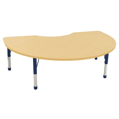 ECR4Kids Thermo-Fused Adjustable 72 x 48 Kidney Laminate Activity Table Maple/Maple/Navy (ELR-14204-MPMPNVCH)