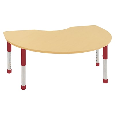 ECR4Kids Thermo-Fused Adjustable 72 x 48 Kidney Laminate Activity Table Maple/Maple/Red (ELR-14204-MPMPRDCH)
