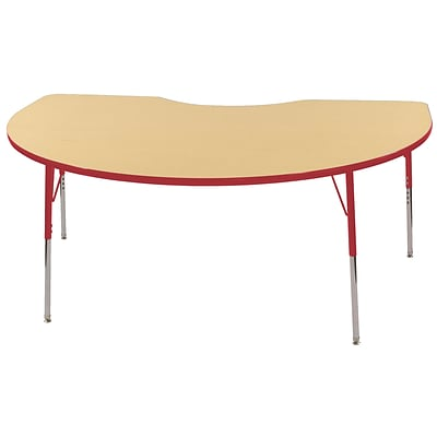 ECR4Kids Thermo-Fused Adjustable Swivel 72 x 48 Kidney Laminate Activity Table Maple/Red (ELR-14204-MPRDRDSS)