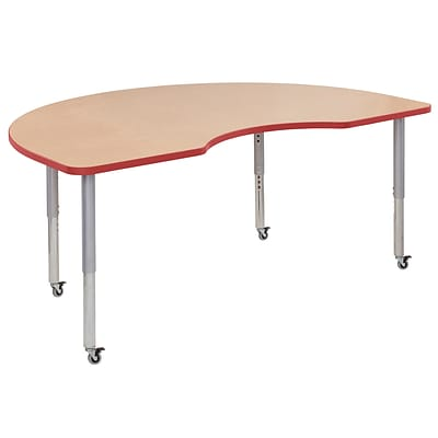 ECR4Kids T-Mold Adjustable Leg 72x48 Kidney Laminate Activity Table Maple/Red/Silver (ELR-14104-MRDSV-SL)