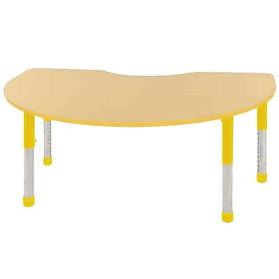 ECR4Kids Thermo-Fused Adjustable 72 x 48 Kidney Laminate Activity Table Maple/Yellow (ELR-14204-MPYEYECH)