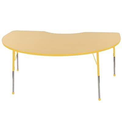 ECR4Kids Thermo-Fused Adjustable Ball 72 x 48 Kidney Laminate Activity Table Maple/Yellow (ELR-14204-MPYEYETB)