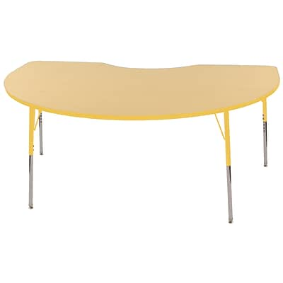 ECR4Kids Thermo-Fused Adjustable Swivel 72 x 48 Kidney Laminate Activity Table Maple/Yellow (ELR-14204-MPYEYETS)