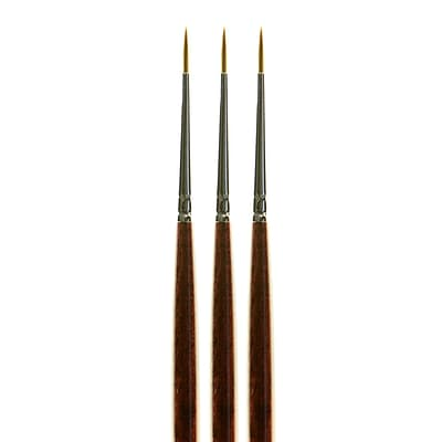 Princeton Series 7000 Long Handled Kolinsky Sable Brushes, Round Size 0, Pack of 3 (PK3-7000R0)