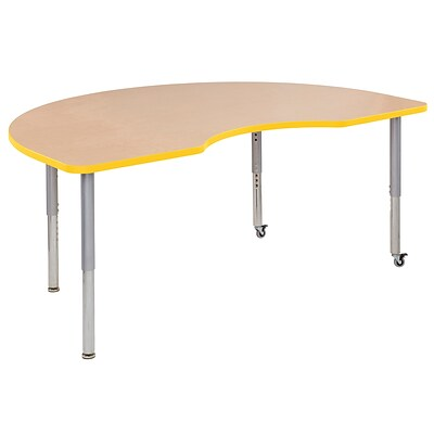 ECR4Kids Thermo-Fused Adjustable Leg 72 x 48 Kidney Laminate Activity Table Maple/Yellow/Silver (ELR-14204-MPYESVSL)