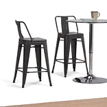 Simpli Home Rayne 24 inch Metal Counter Height Stool in Grey (Set of 2) (AXCRAY24-01-SL)